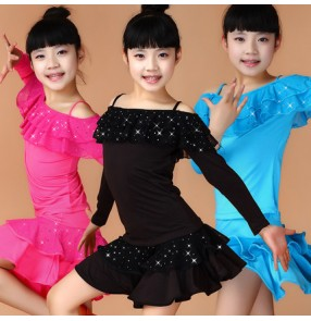 Fuchsia red turquoise black sequined ruffles neckline long sleeves competition professional  practice latin ballroom split set dance dresses