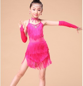 Fuchsia royal blue Exciting Fringe Girl Latin Dance Dress Summer Dresses Stage Performance Competition Costume For Children