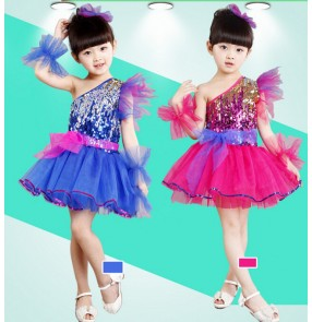 Fuchsia royal blue  Girls child kids child baby paillette sequin one shoulder fashionable latin dance jazz modern stage performance dance dresses costumes