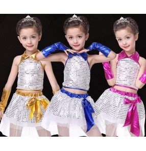 Fuchsia royal blue gold yellow hot pink girls kids child children toddlers growth kindergarten modern sequined jazz dance stage performance t show play costumes dresses set