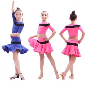 Fuchsia royal blue patchwork colored girls kids children child baby short sleeves split set striped competition exercises  latin dance dresses sets samba salsa cha cha dance dresses