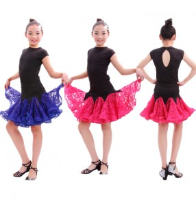 Fuchsia royal blue red patchwork colored Girls kids child children baby short sleeves competition latin dance dresses set split set top and skirts