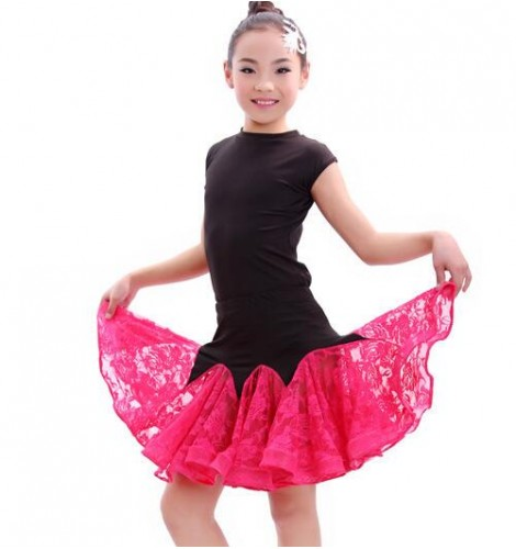 Girls Dance Dresses : Fuchsia Royal Blue Red Patchwork
