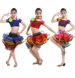 Fuchsia royal blue red rainbow colored girls kids child children ruffles skirts lace material rhinestones competition latin dance dress split set