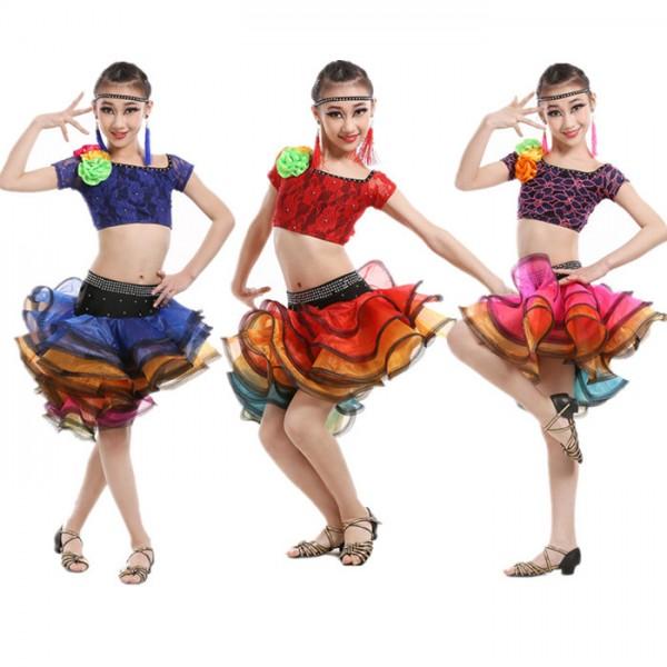 ddde12227a3e fuchsia-royal-blue-red-rainbow-colored-girls-kids-child-children-ruffles- skirts-lace-material-rhinestones-competition-latin-dance-dress-split-set-2966-  ...