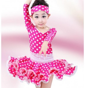 Fuchsia royal blue white polka dot colored girls kids child children toddlers baby competition professional long sleeves latin salsa cha cha dance dresses
