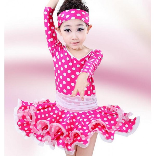 Fuchsia Royal Blue White Polka Dot Colored Girls Kids