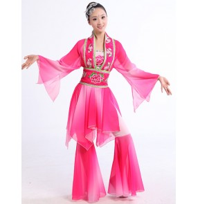 Fuchsia violet colored women's ladies female long sleeves chinese china  folk dance costumes dresses  stage performance yangko fan dance dresses set