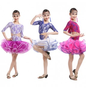 Fuchsia violet royal blue patchwork colored short sleeves girls kids child children competition swing skirts latin dance dresses samba cha cha dance dresses