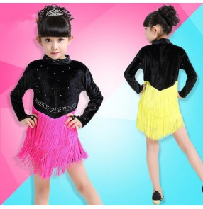 fuchsia yellow and black patchwork Velvet long sleeves turtle neck diamond tassels girls kids children school play competition latin cha cha ballroom leotards dance dresses outfits