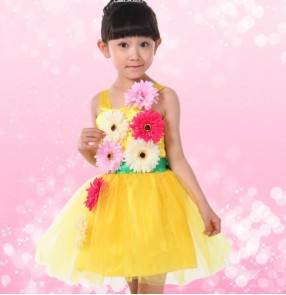 Fuchsia yellow gold white rainbow colored girls kids child children toddlers flowers tulle modern dance stage performance cos play jazz ds dj dance costumes dresses