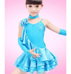 Gilrs children child kids blue yellow fuchsia sequined latin dance dress 110-160cm