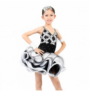 Girl's kids competition latin dance dress black and white patchwork 110-160cm