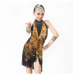 Girls adult competition professional sequined tassel rhinestone latin dance dress backless gold black