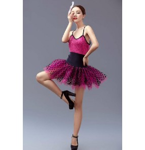 Girls adult fuchsia violet and black tutu skirt ballet dance dress