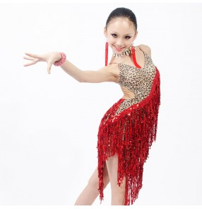Girls adult kids long tassel sequined latin dance dress salsa dance wear red leopard turquoise leopard
