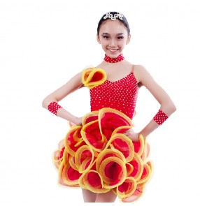 Girls adult kids  rhinestone big skirted latin dance dress salsa dance wear several colors