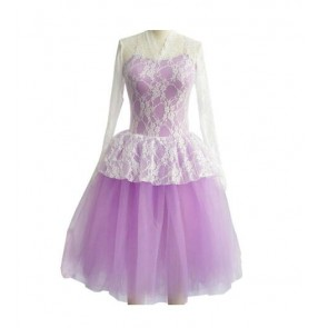 Girls  Adult violet and blue long sleeves ballet dance dress skating dress