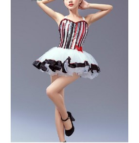 Girls adult women's colorful striped tutu skirt leotard ballet dance dress