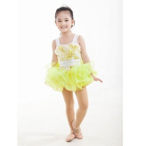 Girls and children yellow tutu skirt leotard short ballet dancing dress