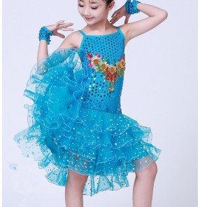 Girls baby child children kids sky blue fuchsia paillette sequin sleeveless backless professional competition exercises modern latin dance dresses