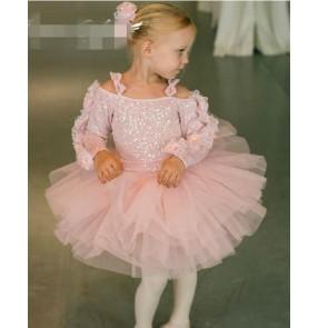 Girls baby kids long sleeves winter ballet dance dress skating dress