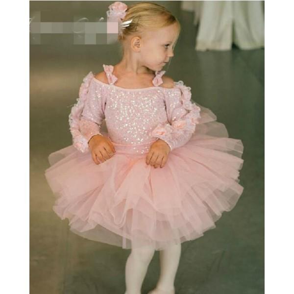 82a6d774b Girls baby kids long sleeves winter ballet dance dress skating dress