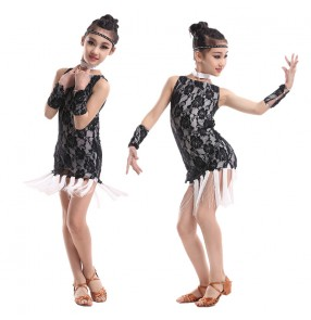 Girls black and white patchwork lace latin dance dresses samba salsa dance dresses 110-160cm