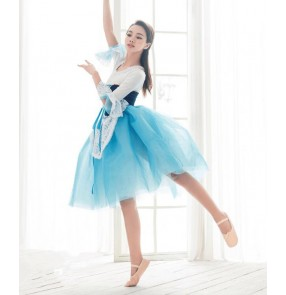 Girls blue and white patchwork long tutu skirt ballet dancing dress