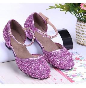 Girls chidlren kids sequined latin dance shoes violet royal blue silver