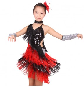 Girls child black and red patchwork tassel latin dance dress salsa ballroom