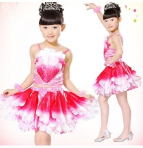 Girls child children baby kids  fuchsia yellow gradient color flowers separate spring summer modern dance stage performance jazz dance costumes dresses