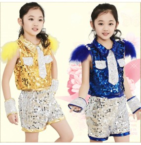 Girls child children kids baby paillette royal blue gold yellow sequined modern stage performance jazz dance costumes clothes set dance wear top and shorts