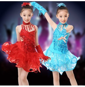 Girls child children kids fuchsia turquoise red gold yellow paillette Rhinestones sleeveless backless with gloves professional competition latin dance dresses salsa cha cha samba dresses