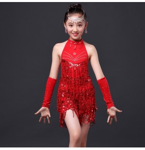 Girls child children kids red fuchsia orange yellow paillette fringe tassels halter sleeveless exercises compeitition rhinestones latin dance dresses salsa cha cha dance dresses with two pieces gloves