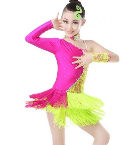 Girls child children kids royal blue yellow fuchsia white and black lace rhinestones fringes one shoulder competition professional latin salsa cha cha dance dresses 110-160cm