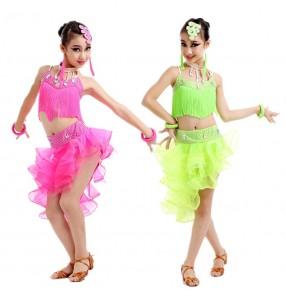 Girls child kids child baby fuchsia neon green rhinestones sleevesless fringe competition latin samba salsa cha cha dance dresses
