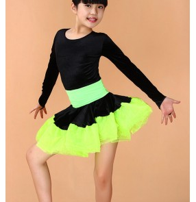 Girls child kids child baby long sleeves  velvet red black yellow leoparbig skirted competition professional ballroom latin dance dresses