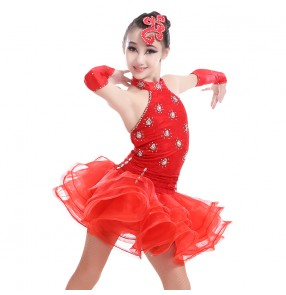 Girls child kids child children red black neon green lace backless  with gloves competition rhinestones professional competition latin dance dresses ballroom salsa cha cha dance dresses