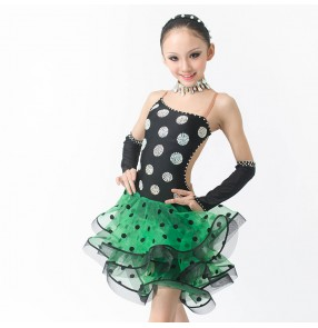 Girls children adult stage performance black polka dot and green professional latin dance dress