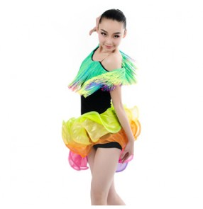Girls children and rainbow tassel patchwork professional competition latin dance dress