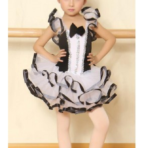Girls children black and white patchwork ballet dance dress skating dress