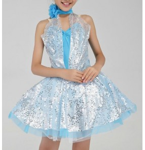 Girls children blue and white squined ballet dance dress