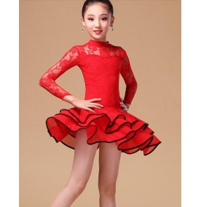 Girls children child black red white lace sleeves turtle neck competition exercises latin dance dresses salsa ballroom dance dresses