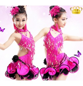 Girls children child fuchsia high quality professional competition latin dance dresses samba salsa chacha dresses 110-165CM
