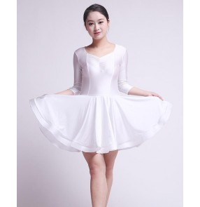 Girls children child kids baby violet white long sleeves v neck competition  exercises ballroom latin dance dresses