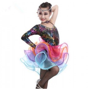 Girls children child kids black colorful sequined rhinestones one shoulder compeittion professional high quality latin ballroom dance dresses