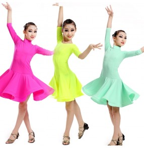 Girls Children child kids mint fuchsia yellow middle long sleeves competition professional exercises latin ballroom dance dresses samba rumba dresses