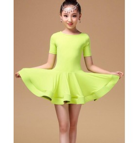 Girls children child kids neon green orange black short sleeves round neck competition professional latin dance dresses salsa cha cha dance dresses