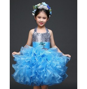 Girls children child kids paillette blue yellow lace closure back halter neck big ruffles skirt flower girls stage host performance dance wear dance dresses 90-150cm